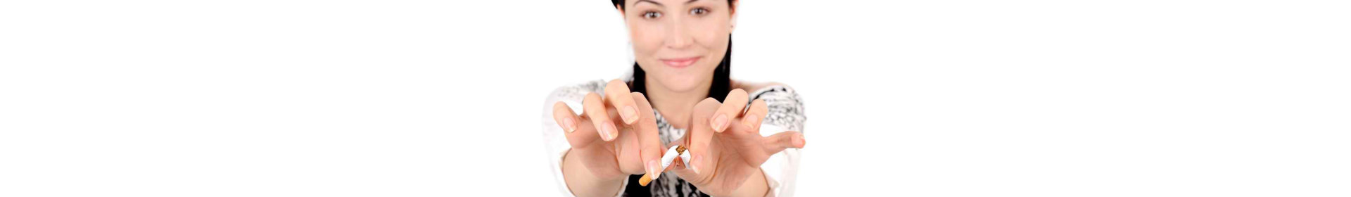 Young attractive woman quiting smoking isolated